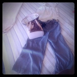 Gingham wide leg ankle pant and button tank